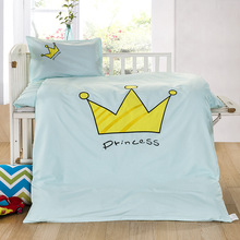 3Pcs/sets Baby Bedding Sets Cotton Cartoon Pattern Patch Embroidery  Baby Bed Quilt Cover Sheets Pillow Case Soft Child Bedding