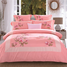 Queen King size Oriental Embroidery Egyptian Cotton Bedding Set Pink Green Purple Duvet cover Bed sheet/linen set Pillowcases(China)