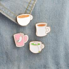 Jisensp Pin Buttons Supplies Pins Metal Enamel Cups Green tea Pink Diving Cat Coffee Tea Brooch Jacket Bag Pin Badge Jewelry(China)