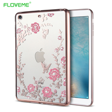 FLOVEME Diamond Floral Tablet Cases For iPad mini 1 2 3 Cover Flowers Slim Silicone Shell Back Cover For iPad Mini Case Luxury(China)