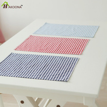 HAKOONA Red Lattice Table Napkins 3 Pieces/Set Cotton Tea Towels 40 * 60 Cm Home Kitchen Baking Mats Pads Cloth