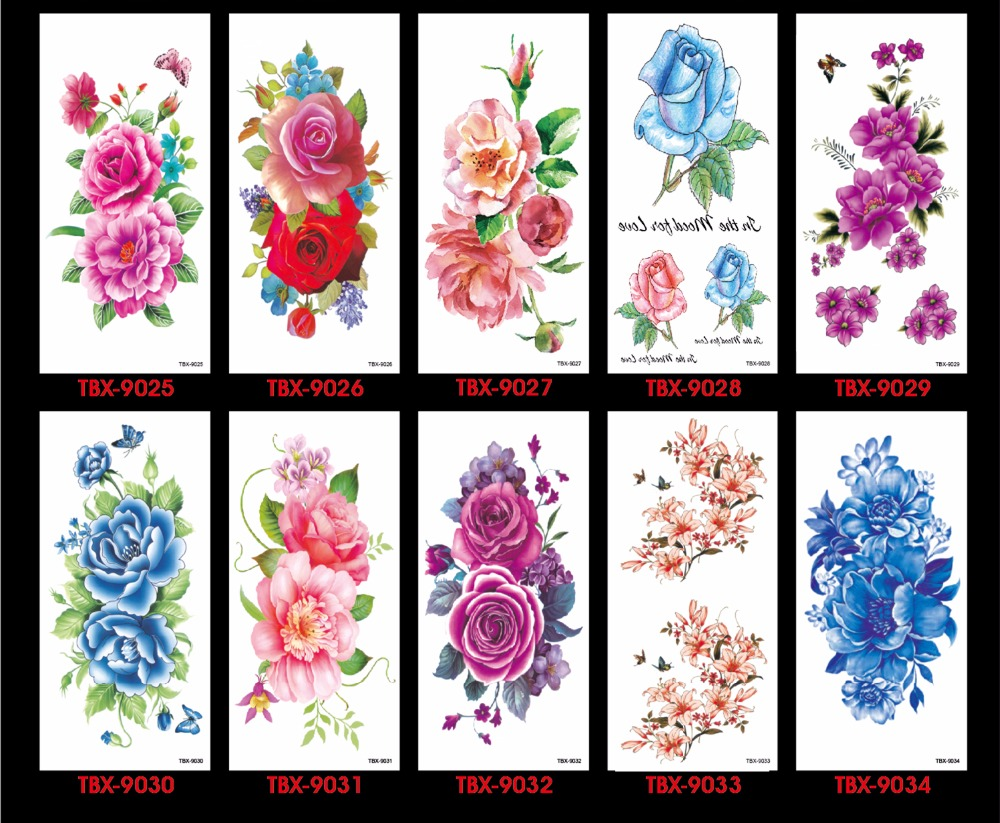 17 Waterproof temporary tattoos stickers sexy romantic dark rose flowers flash fenna tattoos fake body art Tattoo sleeve 13