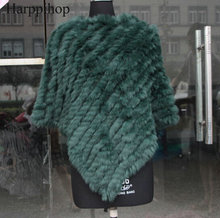 free shipping spring autumn Genuine Real Knitted Rabbit Fur Poncho Wrap scarves women natural rabbit fur Shawl triangle Cape(China)