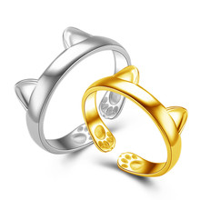 Hot Sale Fashionable Adorable Cute Silver Plated CAT EARS RING Thumb Ring Adjustable Beautiful Special Gift anel masculino(China)