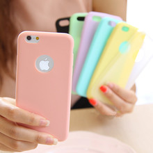 For iPhone 7 6 6s Plus 5 5s SE Case Solid Candy Color Matte Skin TPU Soft Back Cover with Hollow Logo Design Phone Cases