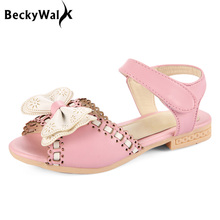 Girls Sandals For 2-7 Ages Peep Toe Bowtie Princess Sandals Kids Party Shoes For Girl Size 21-30 Children Summer Shoes CSH110