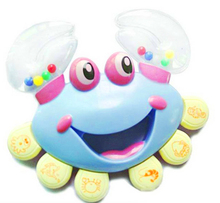 Plastic  Baby Kid Crab Toy Jingle Musical Educational Shaking Rattle Handbell