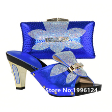 Ladies Matching Shoe and Bag Italy 6 Colors Material with Pu Italy Shoes and Bags Set for Party Women Shoe and Bag To Match
