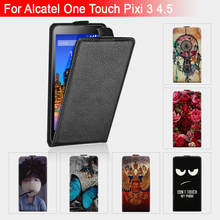 High Quality Flip Leather For ALCATEL One Touch pixi 3 4.5 inch 5017 5019 5019D Case Cover Flip Cartoon Case For OneTouch pixi3