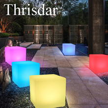 RGB Rechargeable Led illuminated Furniture Remote Control Outdoor Led Cube Chair bar KTV Pub Plastic Tables lighting AC80-265V(China)