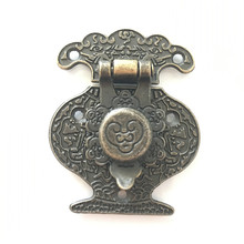 Wooden Jewellery Box Vase Buckle Metal Box Hasp Latch Lock Decorative Hasp Antique Bronze Pattern Carved,40mmx51mm(China)