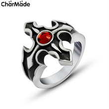 New Arrival Goth Arrow Cross Ring Red CZ Solitaire Mens Rings Retro Stainless Steel Male Finger Jewelry Cool Accessory R550