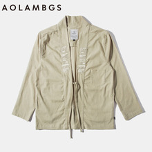 Aolamegs Kimono mens jacket japanese clothes embroidered harajuku casual japan style outwear kanye west kimonos shirt cardigan