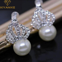 New Fashion Unique Inlay Crystal Crown Queen Jewelry Earrings Fashion Pearl Ear Stud For Women XY-E980(China)