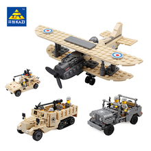 KAZI Army Brand Jeep Car Military Truck Model Building Blocks Toy Bricks Sets Brinquedos Intelligent Toys F-1 Camel Fighter Hum