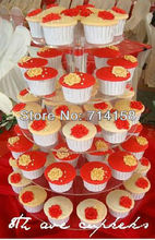 Wholesale Round 5 Tier plexiglass cupcake stand free charge of shipping cost wedding decoration