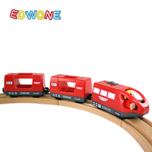 EDWONE Magnetic Electric Train with Two Carriages Fit Thomas Wooden Slot Hot Wheels Toy(China)