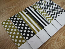 60 Black Gold Party Paper favor bags with handles mix polka dot,chevron,stripes or u choose,100% Recycled White Kraft Paper Bag