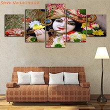 Cute Lord Krishna Modern Canvas Pictures Living Room Decor Wall Art 5 Pieces Unframed Painting Buddha Figure Artwork