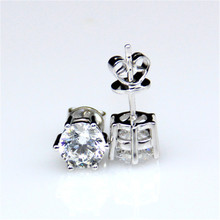 LASAMERO 6 Prong 2CTW  Moissanites Stud Earrings 9K White Gold Fine Jewelry Test Positive Lab Grown Diamond Earrings