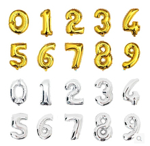 New Super Large 16inch Foil Gold and Silver Number Balloon Float air balls Wedding party decoration baloon Kids Inflatable Toy