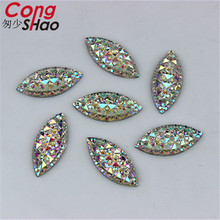 Cong Shao 200pcs 9*20mm Crystal Clear AB Sew On 2 hole Acrylic Resin Rhinestones Flat Back Beads For Jewelry Making ZZ42(China)