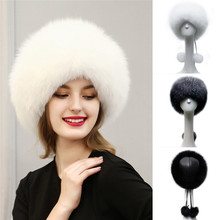 Russian Style 2016 Warm Mink Fur Hat Female Leather Caps Beanies Fluffy Pom Poms Rabbit Fur Ball Winter Hat Bonnet For Women