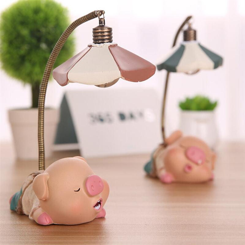 Pig Cartoon LEDs Folding Battery Powered Reading Desk Table Bedside Lamp Light(China)