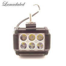 Lamadaled 18W DC12V 24V IP67 Cree chip 4 Inch Off road spot led working light bar for 4x4 off road ATV TRUCK BOAT UTV work lamp(China)