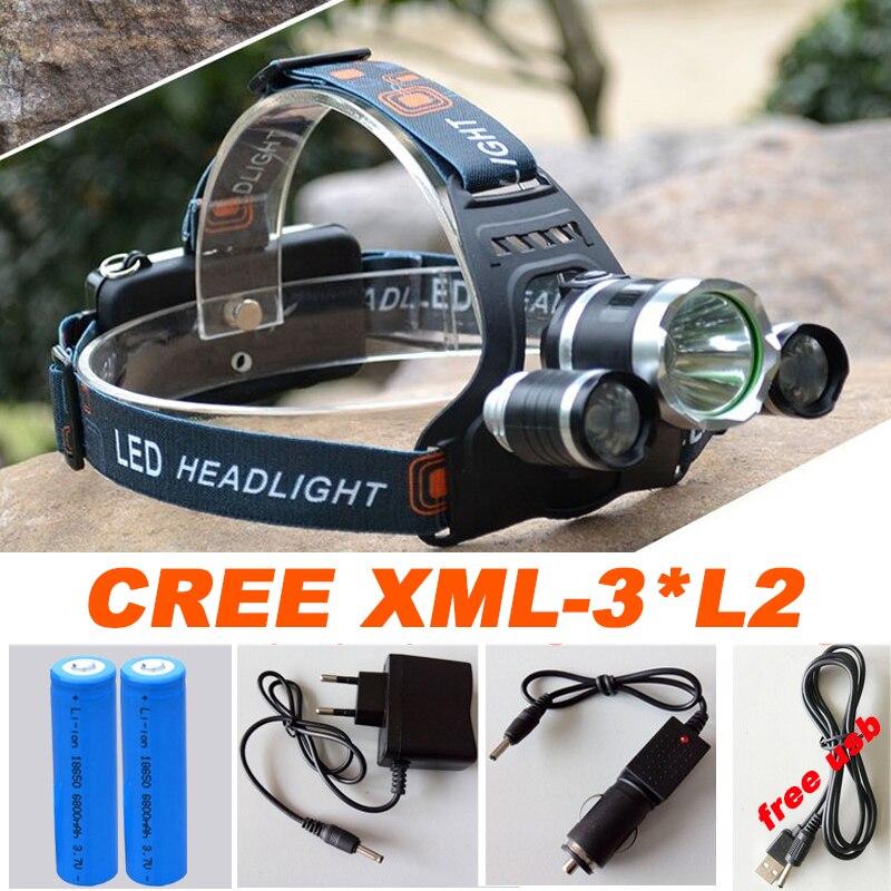 Led Headlamp Headlight 12000 Lumens Linterna Frontal 3x Cree XM-L2 Hiking Flashlight Head Torch Light with Charger<br><br>Aliexpress