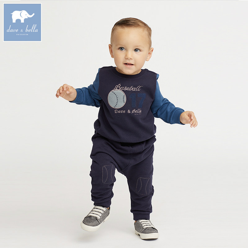 DB6077 dave bella autumn infant boys Active clothing sets children suit high toddler outfits Clothing Suits<br>