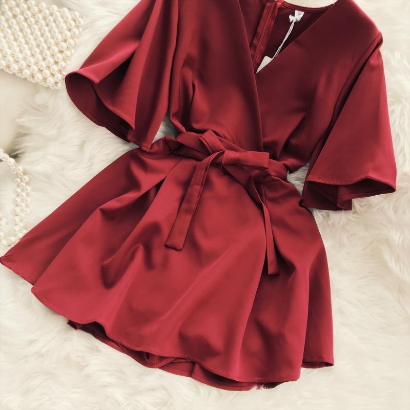 2018 Summer Jumpsuit Woman Pure Color Temperament V Collar Short Sleeve High Waist Slim Playsuits Ladies Playsuit 41