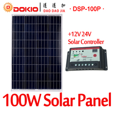 DOKIO Brand 100W 18 Volt Solar Panel China + 10A 12/24 Volt Controller 100 Watt Solar Panels Cell/Module/System Charger/Battery(China)