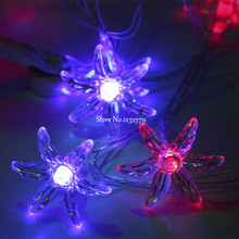 5M 50 LED Fairy String Lights winter jasmine flower Battery Operated Xmas Christmas Garland Wedding Party luces decorativas(China)