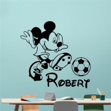 Mickey Mouse Wall Decal Boy Sport Soccer Football Ball Custom Name Cartoons Vinyl Sticker Nursery Wall Sticker
