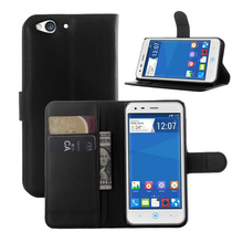 Luxury Genuine PU Leather Flip Case Cover for ZTE BLADE S6 5'' Case Cell Phone Shell Back Cover Card Holder Black White(China)