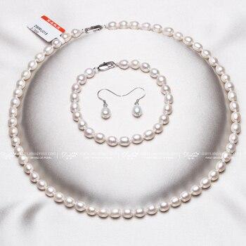daimi negro 6-7mm arroz pequeño bisutería perla conjuntos collar pulsera pendientes color perla sexy establece para las mujeres