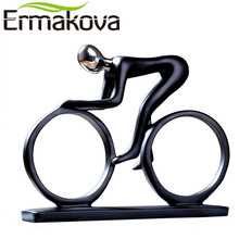 ERMAKOVA Modern Abstract Resin Bicycler Cyclist Statue Bicycle Rider Statue Bike Racer Rider Figurine Office Living Room Decor(China)