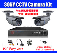 1200TVL SONY CCD 1080p 4ch DVR Kit CCTV SYSTEM 1080n 4ch DVR Full D1 960h Recording, 1080P HDMI OUTPUT P2P Easy Access