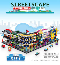 Hot mini city street view building block Bank Train station music hall Hotel Toyshop Auto repair shop bricks toys for kids gifts