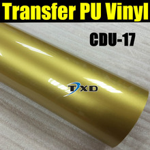 Free shipping heat transfer PU vinyl 50X100CM/LOT with good quality CDU-17 GOLD COLOR