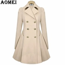 Women Spring Elegant Long Wind Coat with Double Button Navy Blue Solid Color Long Sleeves Tops Office Lady Winter Trench Outwear(China)