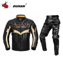 DUHAN Men's motorcycle jacket Motocross Off-Road Racing Jacket Cotton Underwear Cold-proof PU Moto Jacket and pants