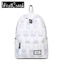 Women Cute Cartoon Animal Printing Backpack Canvas Rabbit Bagpack Bookbag School Bags Teenage Girls Fresh Backbag Laptop - BackPackCool Store store