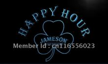 LA650- Jameson Whiskey Shamrock Happy Hour Bar Neon Sign     home decor  crafts