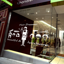 Free shipping Salon sticker Hair shop Wall stickers beauty shop decoration glass stickers wall decals 2015 new arrival(China)