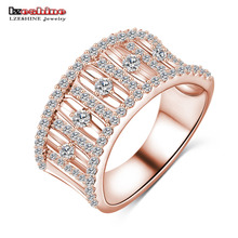 LZESHINE Wholesale New High-end Engagement Rings Gold /Silver Color AAA Zircon Trendy Rings For Women Free Shipping CRI0017