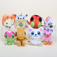 8pcs/set 4'' 10cm Digimon Adventure Digimon Plush Toy Agumon Piyomon Palmon Patamon Tailmon Tentomon Plush Doll