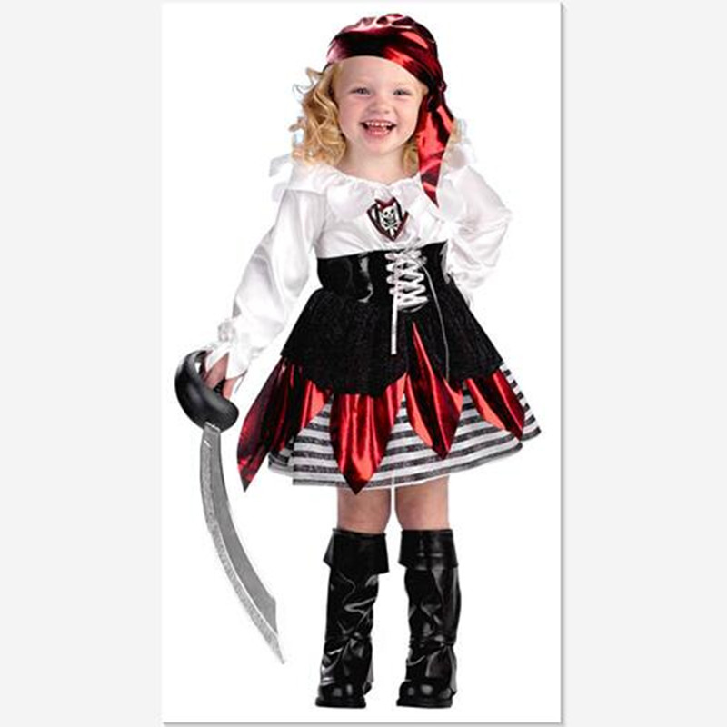 2017 Children Skull Halloween/Christmas Costumes 3-10Y Girls Long Sleeved Fancy Clothes Kids Cute Pirate Cosplay Petal Dress<br><br>Aliexpress