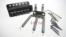 A Set Chrome 6 String Flat Saddle Tremolo Bridge System for FD stratocaster Electric Guitar With Whammy Bar
